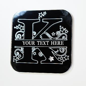 Swirls and Stars Alphabet Square Acrylic Mirror Letter K