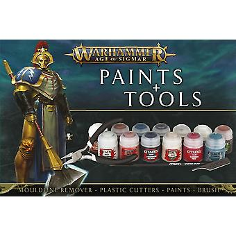 Warhammer Age of Sigmar: Paints + Tools, 16 Piece, Warhammer 40,000 40k