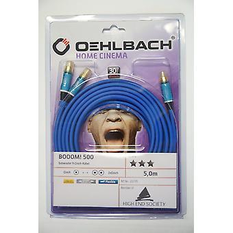 Oehlbach Booom 500 Subwoofer Y RCA Kabel 5 meter blå