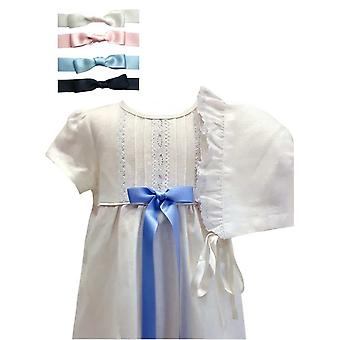 Christening Gown,  Short Sleeve And Bonnet, 4 Options Of Bow Colour - Grace Of Sweden