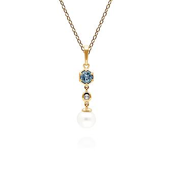 Modern Pearl & Topaz Drop Pendant Necklace in Gold Plated Sterling Silver 270P030110925