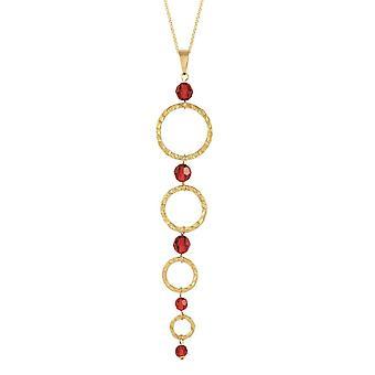 Evig samling Infinito gull bøyle og rød krystall lang uttalelse anheng