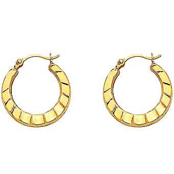 14k Yellow Gold Fancy Hollow Hoop Earrings 17x17mm Jewelry Gifts for Women - .6 Grams