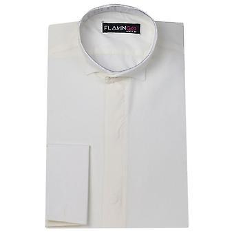 Jongens ivoor / Creme Wing kraag Cufflink geschikt Shirt - FLAMINGO