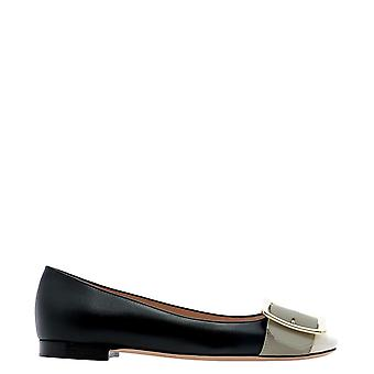 Bally 6235069 Women's Black Leather Flats