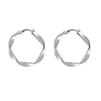 Boucles d'oreilles Twisted Hoop pour femmes Sterling Silver TJC
