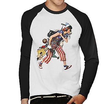 The Saturday Evening Post Liberty Girl Norman Rockwell Men's Baseball Long Sleeved T-Shirt