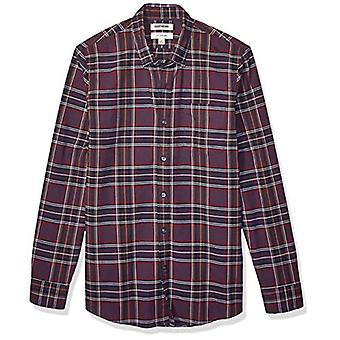 Brand - Goodthreads Men's Slim-Fit Slim-Fit Long-Sleeve Plaid Oxford Camicia, Pur...