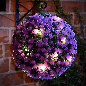 Paarse Zonne-energie Topiary Ball 20 LED Licht Voordeur Tuin Opknoping Mand