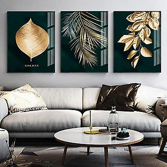 Moderner Stil abstrakte goldene Pflanze Blätter Leinwand Druck Malerei - Wohnzimmer