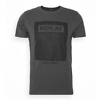 Replay Logo Print T-shirt Donkergrijs M3165