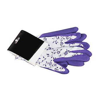 2PCS Breathable Rubber Base Gardening Gloves Purple