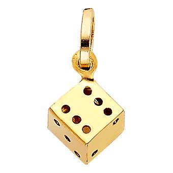 14k Gult Guld Hollow Dice Hängsmycke halsband 10x11mm smycken presenter till kvinnor - 1,0 gram