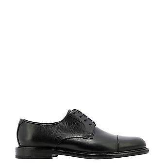 Salvatore Ferragamo 0734938 Heren's Black Leather Lace-up Schoenen