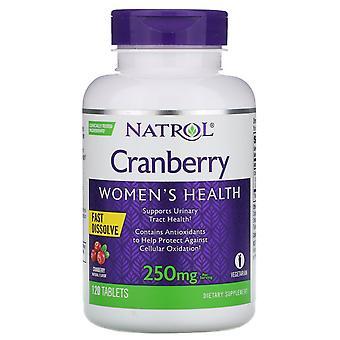 Natrol, Tranbär, Fast Dissolve, Tranbär Smak, 250 mg, 120 Tabletter