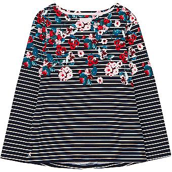 Joules Harbour Print Womens Langarm Jersey Top - Marine Floral Streifen