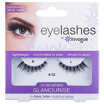Invogue Glamourise False Synthetic Eyelashes - #52 - Reusable and Easy to Apply