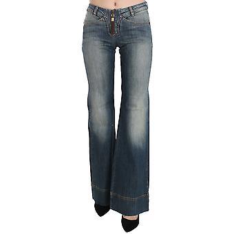 Blue Washed Mid Waist Boot Cut Denim Pants Jeans
