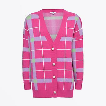 Olivia Rubin  - Cecily Check Knitted Cardigan - Pink