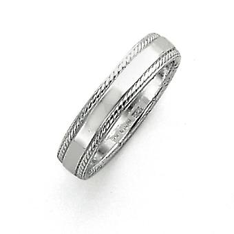 925 Sterling Silver Solid Polished Engravable 4mm Design Edge Band Ring - Ring Size: 4 to 12