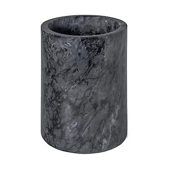 Marble Wine Bottle Cooler Sleeve | Solid Stone Barware Champagne Chiller | 13 x 18cm - Black