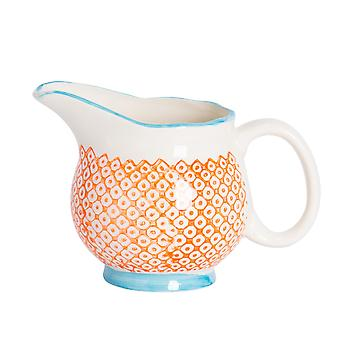 Nicola Spring Hand-Printed Milk Jug - Japanese Style Porcelain Cream Gravy Boat - Orange - 300ml