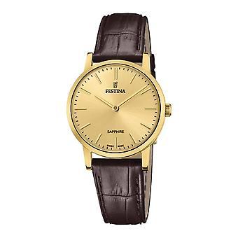 Festina Swiss F20017-2 Women's Gold Tone Case Brown Leather Wristwatch