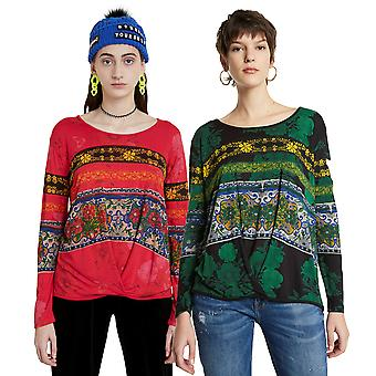 Desigual Yess Long Sleeved Flattering Draped Floral T-shirt 20WWTK34