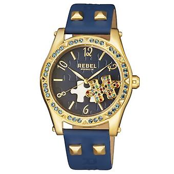 Rebel Women-apos;s RB111-9141 Gravesend Gold IP Steel Blue Leather Montre-bracelet