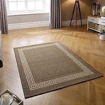 Griechischen Schlüssel Flachgewebe braun Rechteck Teppiche Plain/fast nur Teppiche