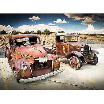 Tapet väggmålning övergivna gamla bilar