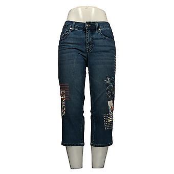 DG2 af Diane Gilman Women's Petite Jeans Blue 20 Floral Patch Beskåret 674-967