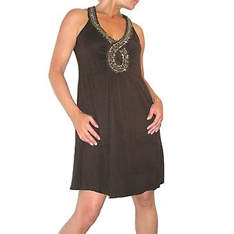 Women's Sleeveless Stretch Dress Ladies Casual Loose V Neck Beaded Flared Tunic Mini Dress Brown Size 6