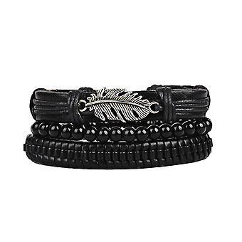 3Pcs/Set Punk Black Multicouche Bracelet en cuir tissé Leaf Charme Perle