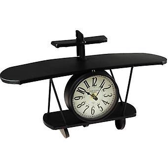 Black Novelty 37 Cm Aeroplane Wall Clock