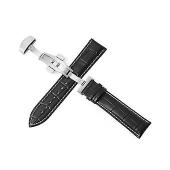 Genuine Leather Watchbands Universal Watch Butterfly Buckle Band Steel