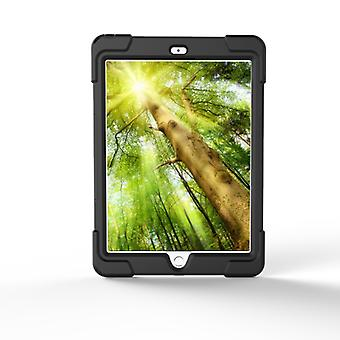 For iPad 9.7 (2018) & iPad 9.7 (2017) 360 Degree Rotation PC + Silicone Protective Case with Holder & Hand-strap(Black)