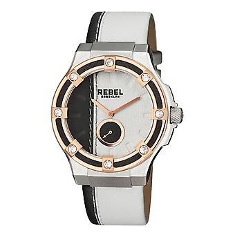 Rebel Women's Flatbush White/Black Dial Leather Watch