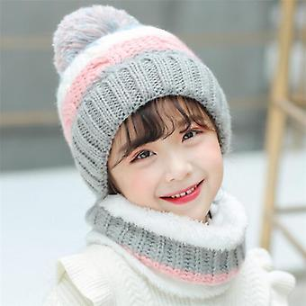 Große Kinder Winter stricken Hut Schal Set Kind Plüsch warm Cap Schals Patchwork