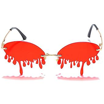 Rimless Sunglasses, Women Vintage Unique Tears Shape, Steampunk, Female Shades