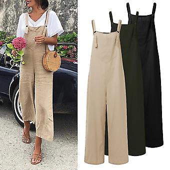 Sexy Sleeveless Straps Overalls Summer Wide Leg Trousers Solid Romper