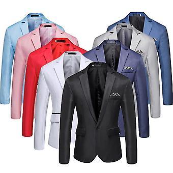 Men's Stylish Casual Solid Blazer Business Wedding Party Coat Suit