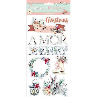 Stamperia Spaanplaat 15x30cm Amor Vrolijk Kerstfeest