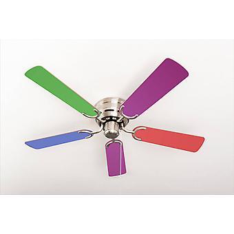 Ceiling fan Kisa Multicolor / Brushed Nickel