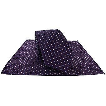Michelsons van London Diamond Grid Tie en Pocket Square Set - Paars