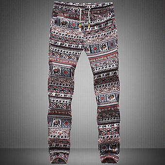 Pantalon pantalon en linge de crayon causal imprimé motif floral pour hommes