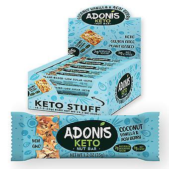 Adonis keto bar | barras de coco baunilha | Lanches 100% naturais de nozes, low carb, vegan, sem glúten
