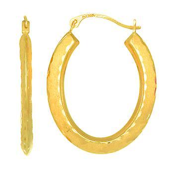 10k keltainen kulta ruutu leikata satiini viimeistely Oval Vannekorvakorut, halkaisijaltaan 23mm