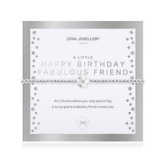 Joma Jewellery A Little Happy Birthday Fabulous Friend Silver 17.5cm Stretch Bracelet 4322