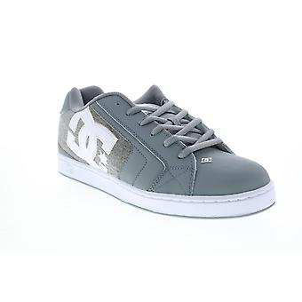 DC Net  Mens Gray Leather Lace Up Skate Inspired Sneakers Shoes